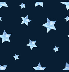 Blue stars on dark background seamless pattern vector