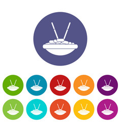 bowl of rice with chopsticks set icons vector image