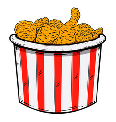 bucket fried chicken design element for poster vector image