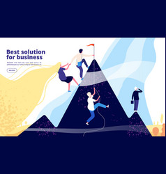 business solutions landing business team climb on vector image