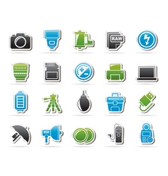 Camera equipment and photography icons vector image