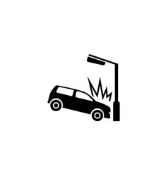car crashed into lamp post flat icon vector image