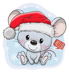 cartoon mouse in santa hat on a blue background vector image