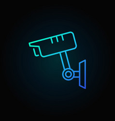 cctv camera blue icon in thin line style vector image