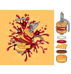 Cheeseburger grenade vector