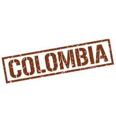 Colombia brown square stamp vector