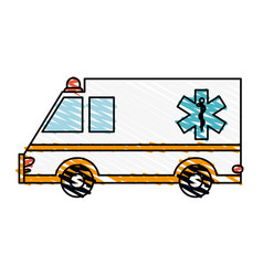 Color crayon stripe cartoon ambulance truck with vector