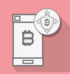 Concept smartphone and circuit shield bitcoin vector
