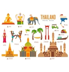 Country thailand travel vacation guide of goods vector image