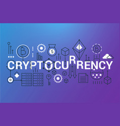 cryptocurrency word trendy composition banner vector image