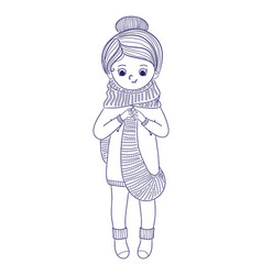 cute girl for coloring bookgirl knits a long vector image