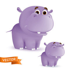 cute standing and smiling cartoon bahippo vector image