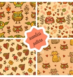 Cute valentines seamless patterns vector