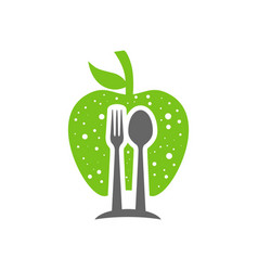 cutlery and apple logo design vector image