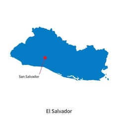 Detailed map of El Salvador and capital city San vector image