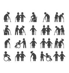 Elderly people icon set vector