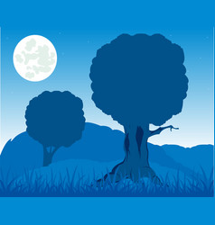 evening landscape of the nature with tree and herb vector image