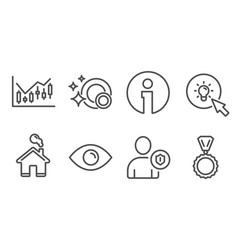 Eye financial diagram and energy icons security vector