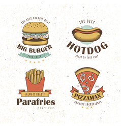 fast food logo pizza hamburguer hotdog fries icon vector image