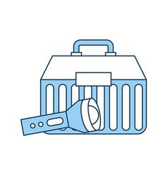 Fishing kit box with lantern vector