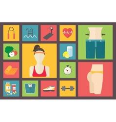 Fitness sport equipment caring figure diet weight vector image