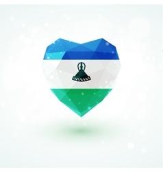 Flag of Lesotho in shape diamond glass heart vector