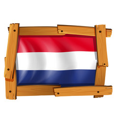 flag of netherland in wooden frame vector image