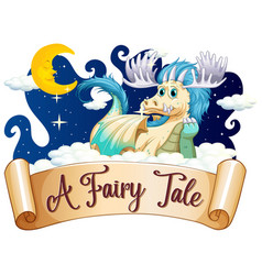 Font design for word fairy tale with dragon in vector