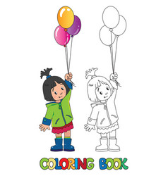 funny little girl with balloons coloring book vector image