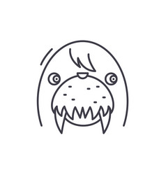 funny seal line icon concept funny seal vector image
