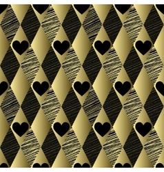 Gold pattern with rhombs and hearts vector