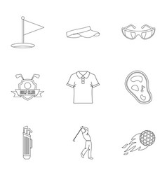 golf market icons set outline style vector image