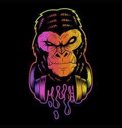 gorilla headphone colorful vector image