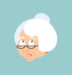 Grandmother confused emotions face grandma is vector
