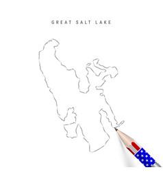 Great salt lake map pencil sketch great salt lake vector