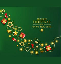 green christmas banner xmas background vector image