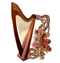 Harp with flowers vector