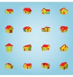 House icons set cartoon style vector