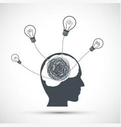 Human head icon with light bulbs vector