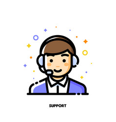 icon cute boy with headset for customer service vector image