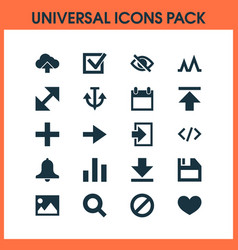 interface icons set with forward download heart vector image