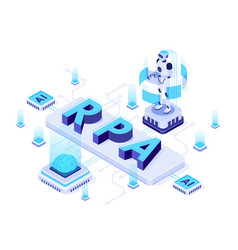 Isometric rpa robotic process automation vector