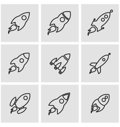 line rocket icon set vector image