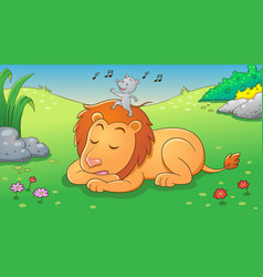 lion and mouse aesop fairy fable tale vector image