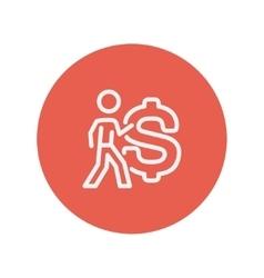 Man with big dollar symbol thin line icon vector