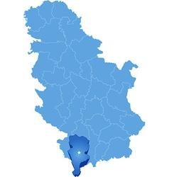 Map of Serbia Subdivision Prizren District vector