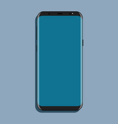 Mock-up black smartphone with blue screen flat vector