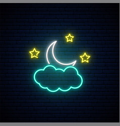 month in clouds neon sign night light vector image