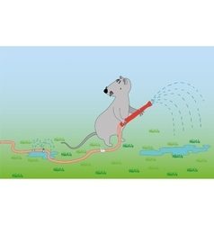 Mouse with a hose watering lawn vector image