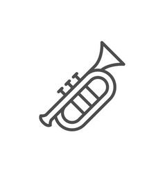 musical instrument trumpet line outline icon vector image